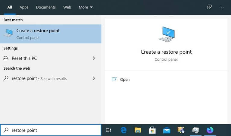 Windows 10 Create a Restore Point 1